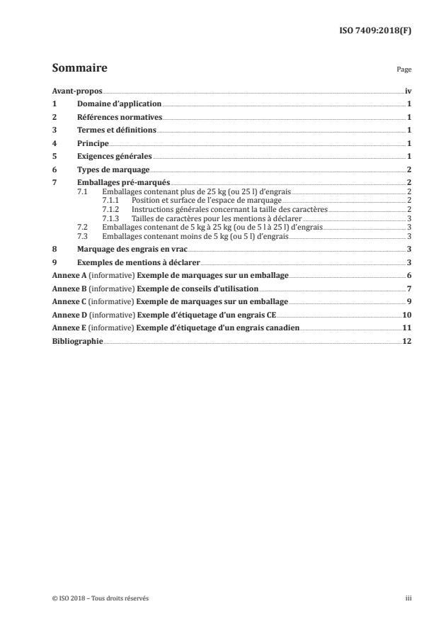 ISO 7409:2018 - Engrais -- Marquage -- Présentation et mentions a déclarer