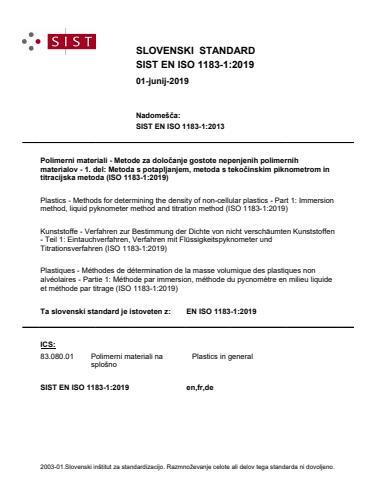 SIST EN ISO 1183-1:2019