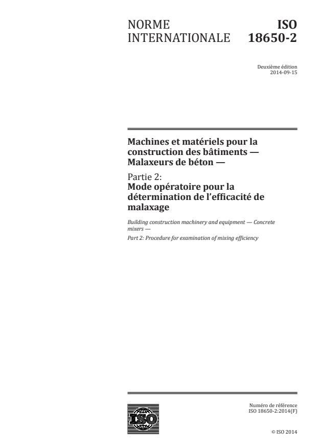 ISO 18650-2:2014 - Machines et matériels pour la construction des bâtiments -- Malaxeurs de béton