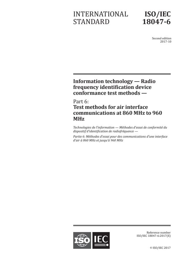 ISO/IEC 18047-6:2017 - Information technology -- Radio frequency identification device conformance test methods