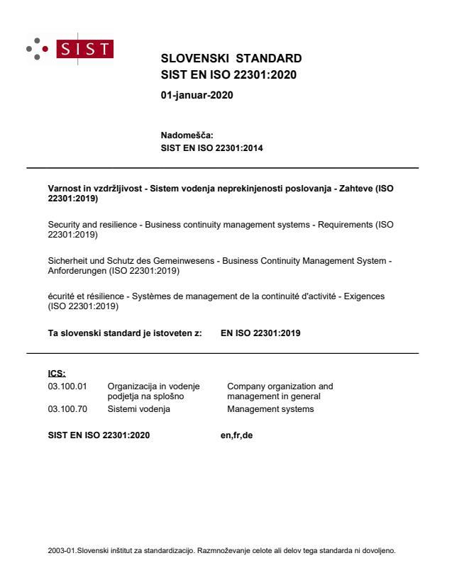 EN ISO 22301:2020