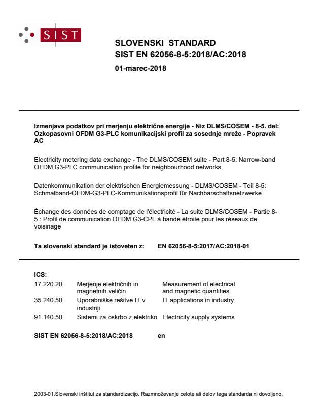 SIST EN 62056-8-5:2018/AC:2018