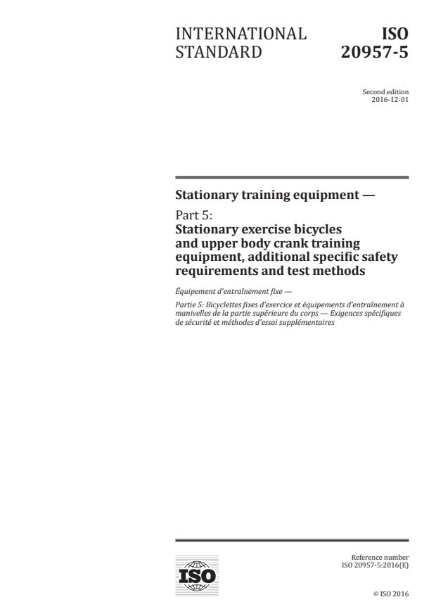 ISO 20957-5:2016 - Stationary training equipment