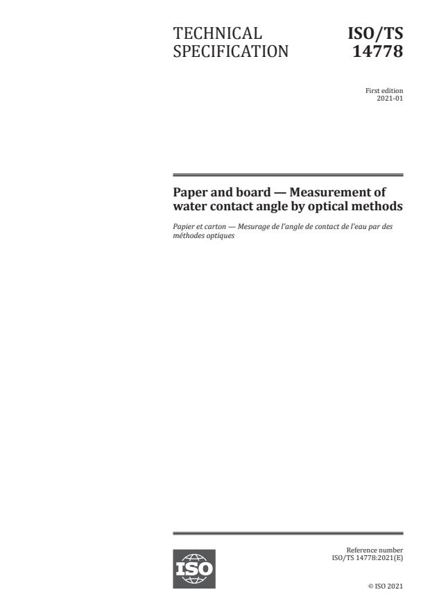 ISO/TS 14778:2021 - Paper and board -- Measurement of water contact angle by optical methods
