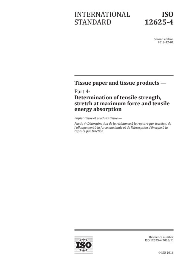 ISO 12625-4:2016 - Tissue paper and tissue products