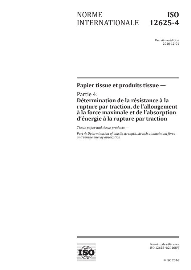 ISO 12625-4:2016 - Papier tissue et produits tissue