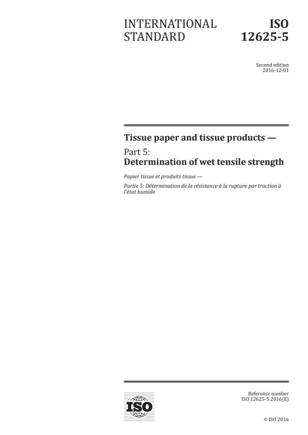 ISO 12625-5:2016 - Tissue paper and tissue products
