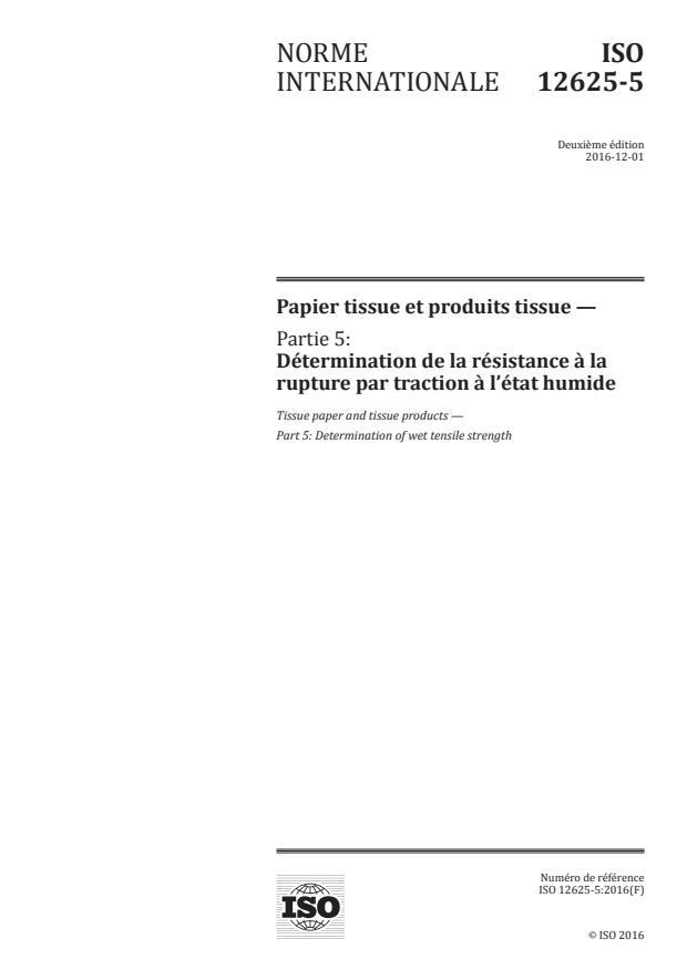 ISO 12625-5:2016 - Papier tissue et produits tissue