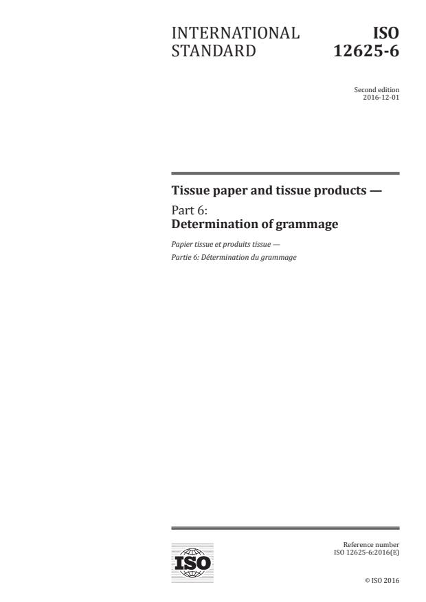 ISO 12625-6:2016 - Tissue paper and tissue products