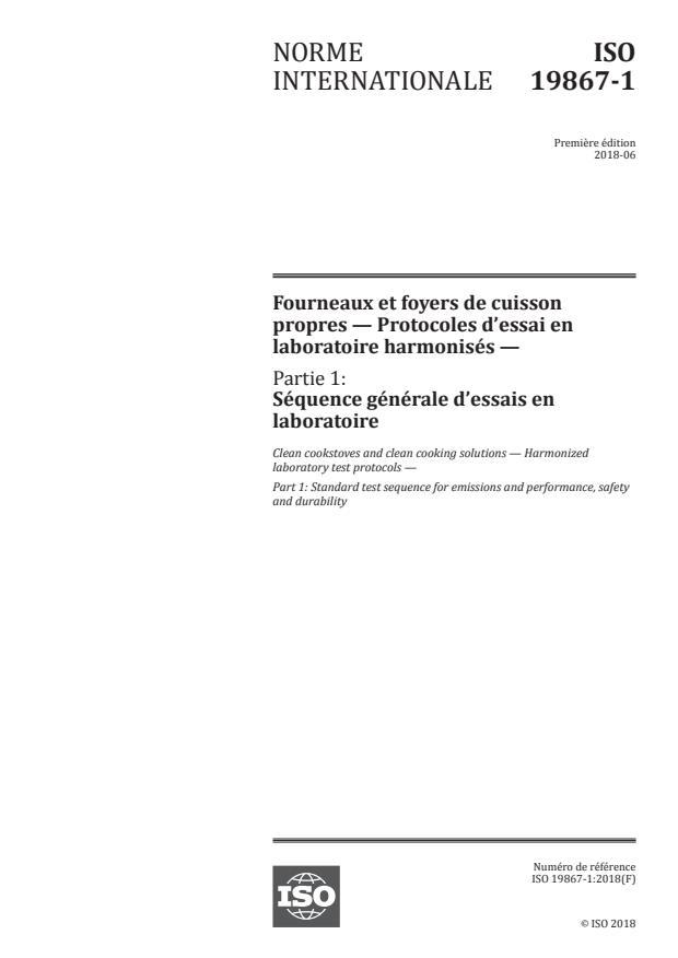 ISO 19867-1:2018 - Fourneaux et foyers de cuisson propres -- Protocoles d'essai en laboratoire harmonisés
