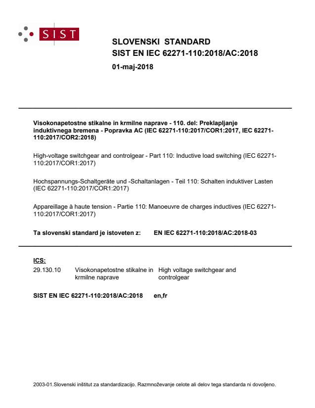 SIST EN IEC 62271-110:2018/AC:2018
