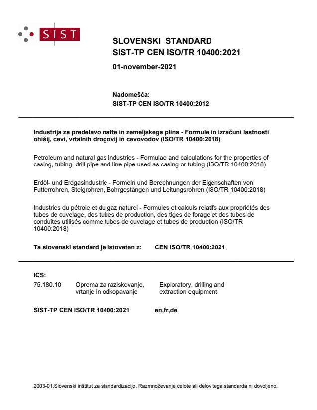 SIST-TP CEN ISO/TR 10400:2021