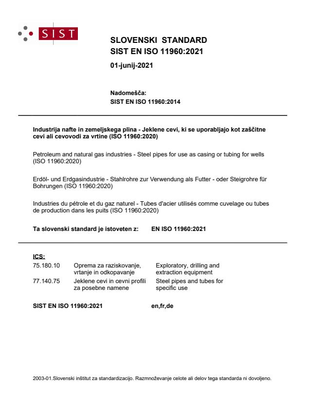 SIST EN ISO 11960:2021