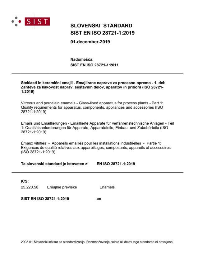 SIST EN ISO 28721-1:2019