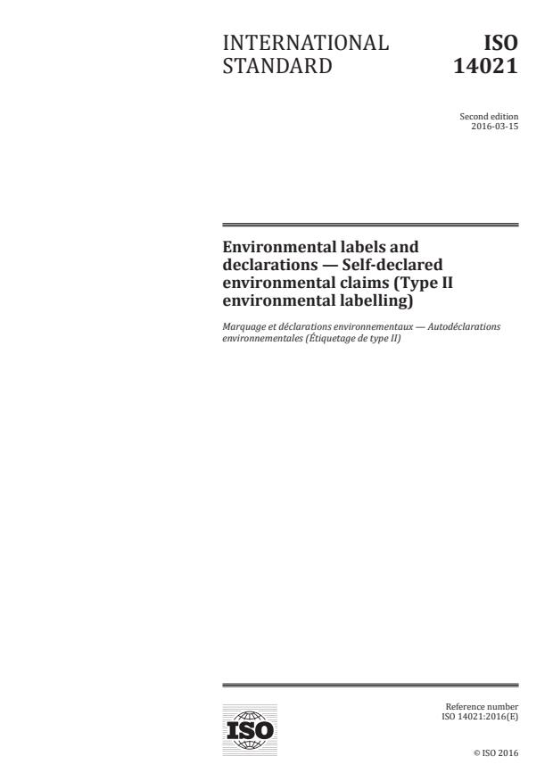 ISO 14021:2016 - Environmental labels and declarations -- Self-declared environmental claims (Type II environmental labelling)