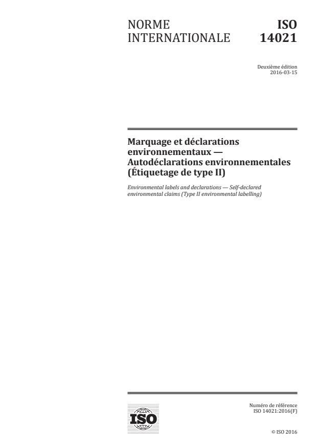 ISO 14021:2016 - Marquage et déclarations environnementaux -- Autodéclarations environnementales (Étiquetage de type II)