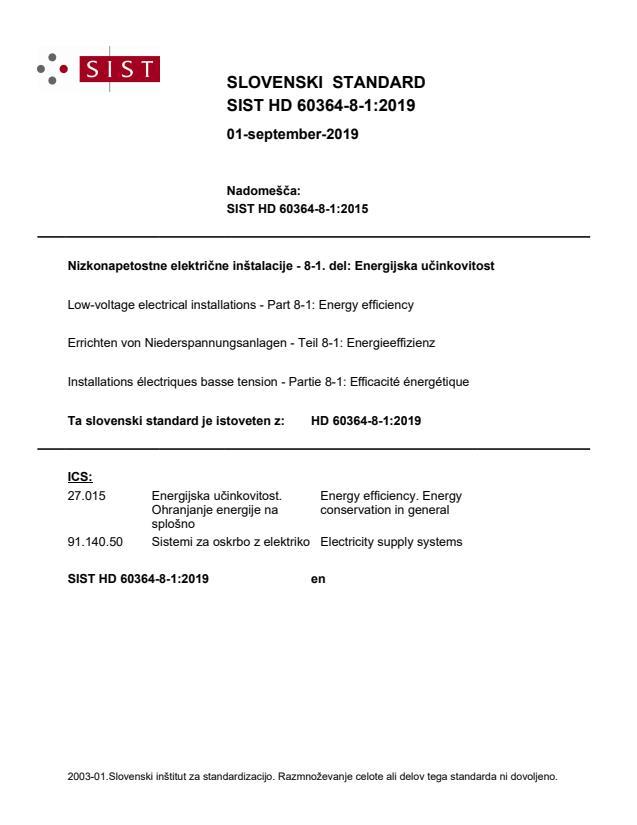 SIST HD 60364-8-1:2019 - BARVE