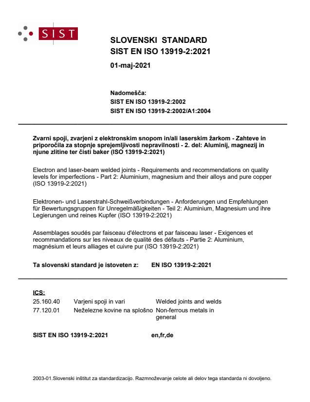 SIST EN ISO 13919-2:2021
