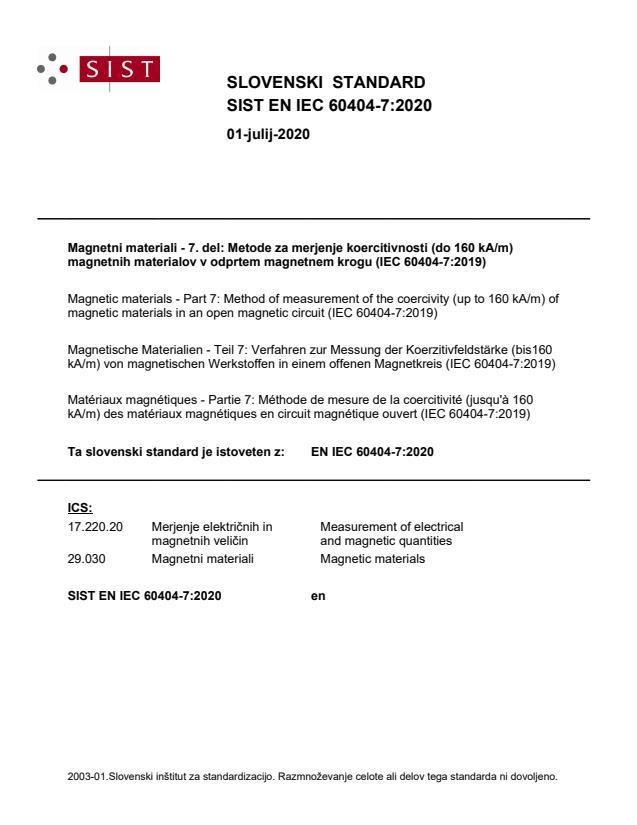 SIST EN IEC 60404-7:2020