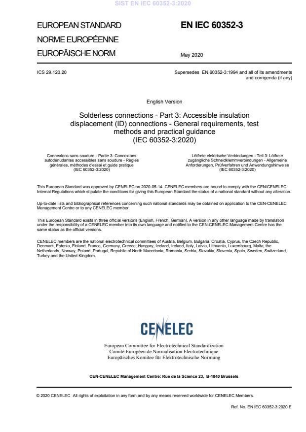SIST EN IEC 60352-3:2020