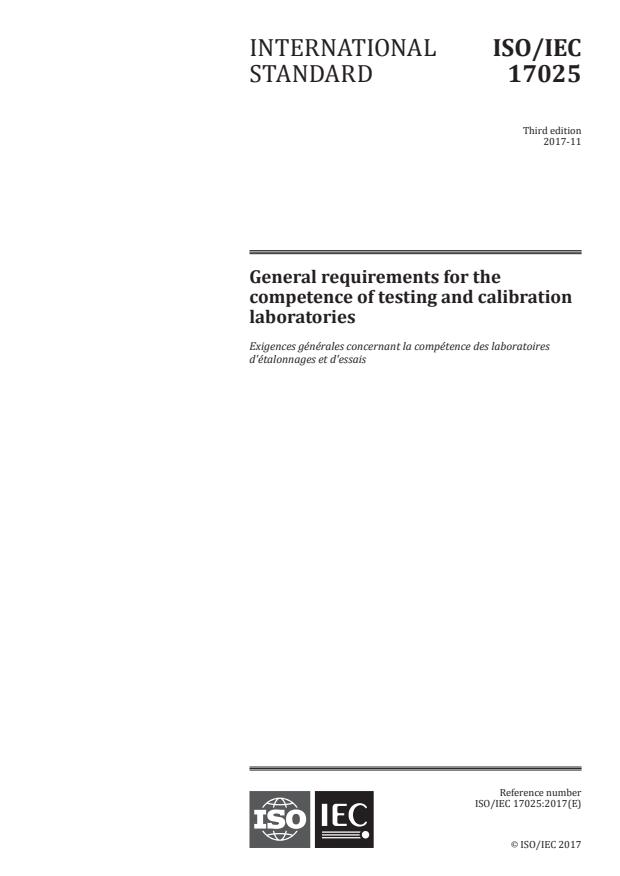 ISO/IEC 17025:2017 - General requirements for the competence of testing and calibration laboratories