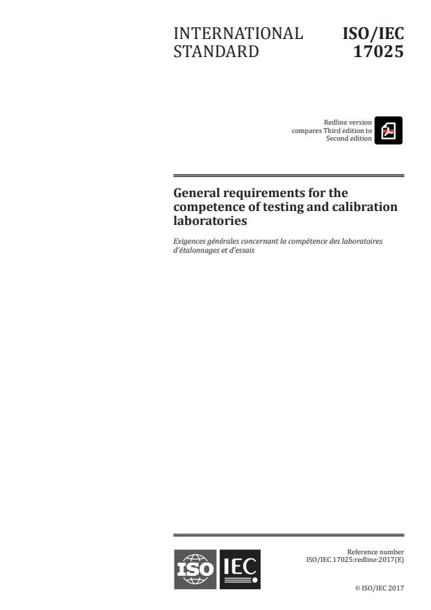REDLINE ISO/IEC 17025:2017 - General requirements for the competence of testing and calibration laboratories