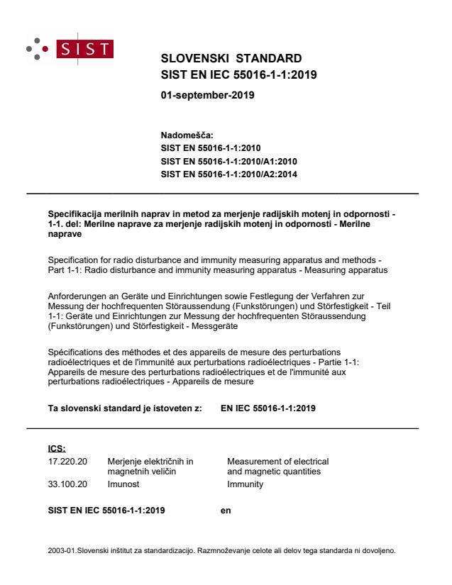 SIST EN IEC 55016-1-1:2019