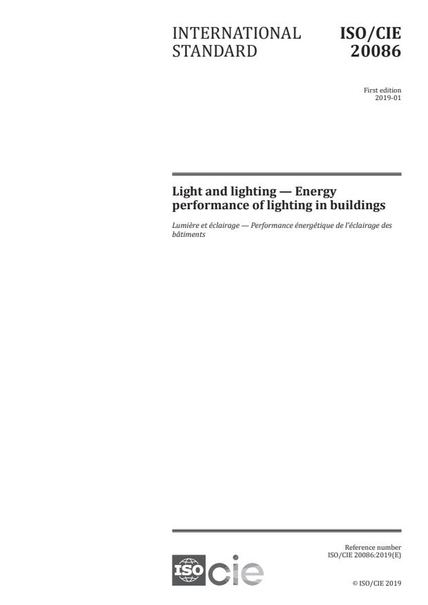 ISO/CIE 20086:2019 - Light and lighting -- Energy performance of lighting in buildings
