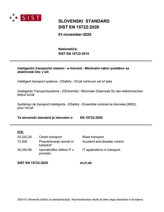 EN 15722:2020 - BARVE