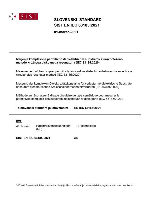 SIST EN IEC 63185:2021