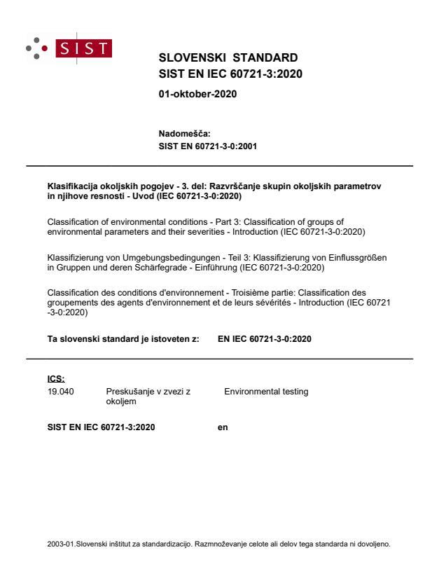 SIST EN IEC 60721-3:2020