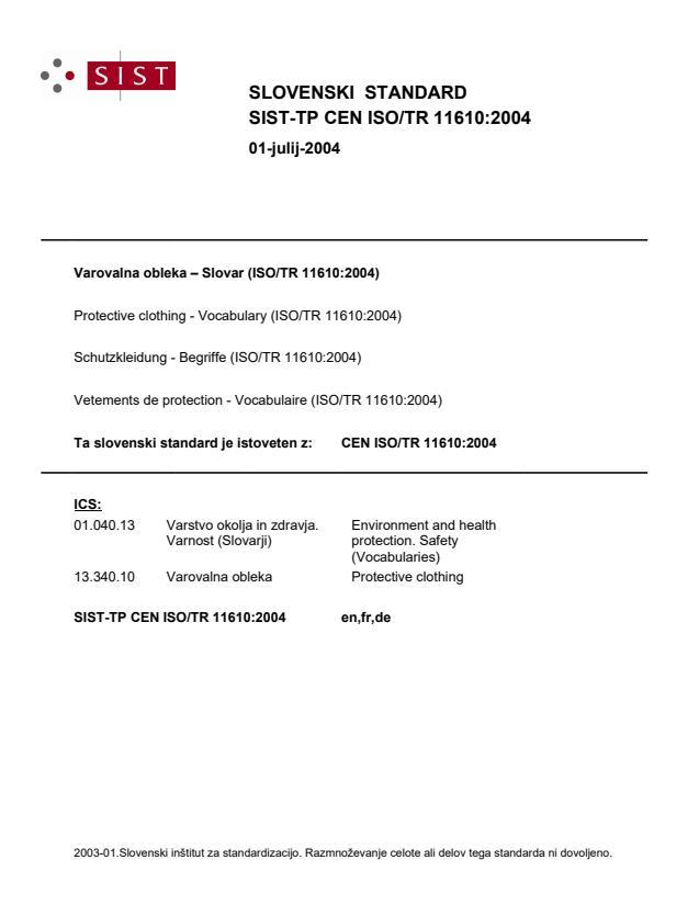 CEN ISO/TR 11610:2004