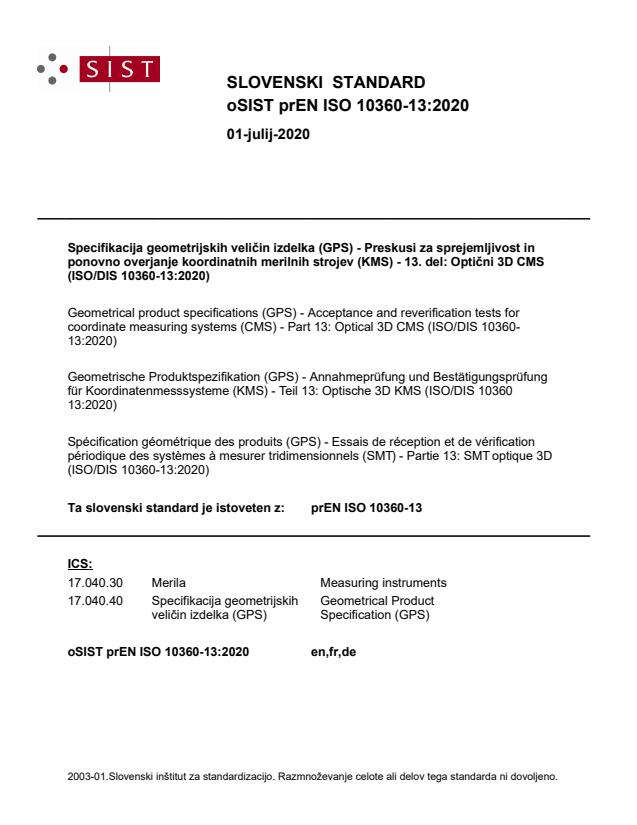 oSIST prEN ISO 10360-13:2020