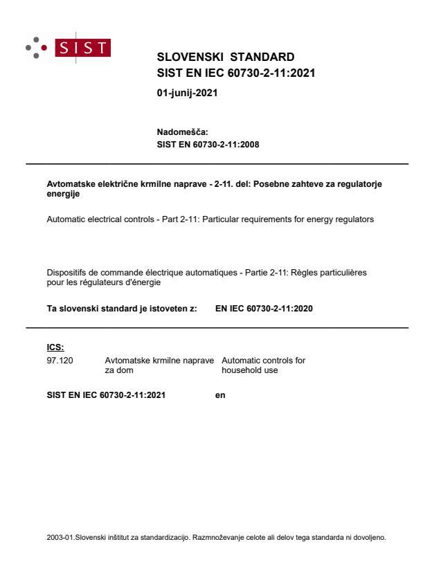 SIST EN IEC 60730-2-11:2021