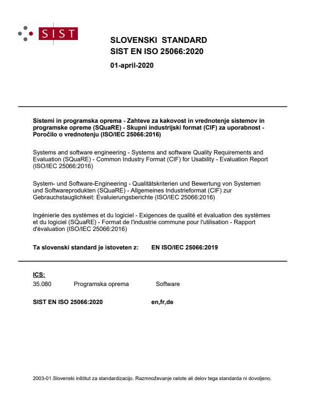 EN ISO/IEC 25066:2019