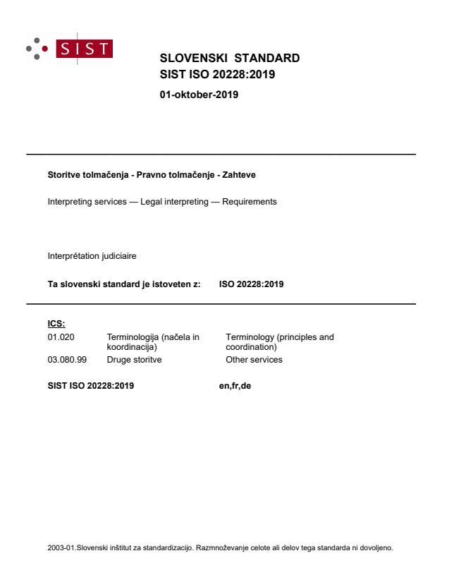 SIST ISO 20228:2019 - ICS 03.160 ni na coverju, dodan je bil kasneje.