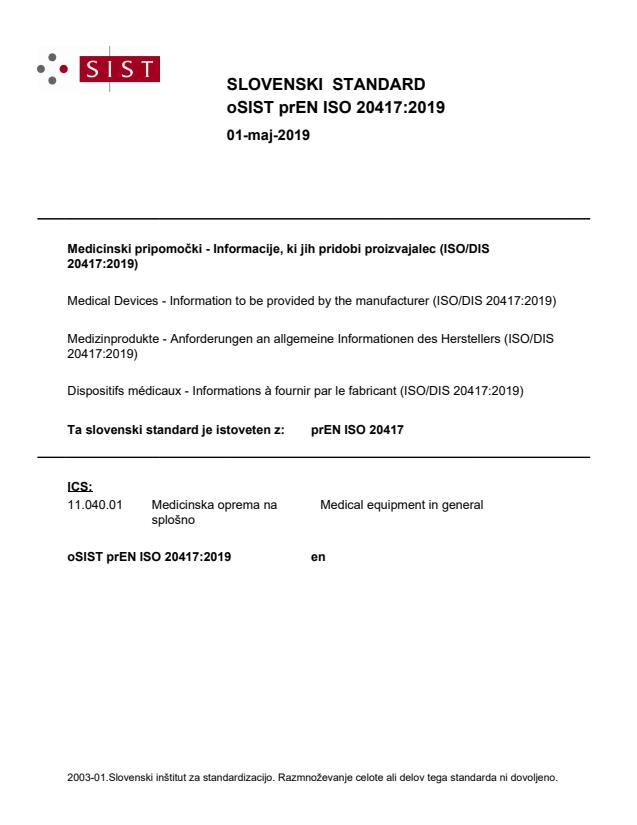 oSIST prEN ISO 20417:2019 - BARVE