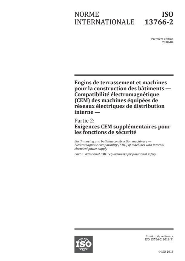 ISO 13766-2:2018 - Engins de terrassement et machines pour la construction des bâtiments -- Compatibilité électromagnétique (CEM) des machines équipées de réseaux électriques de distribution interne