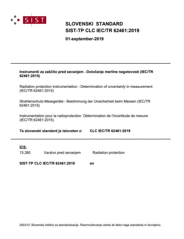 SIST-TP CLC IEC/TR 62461:2019
