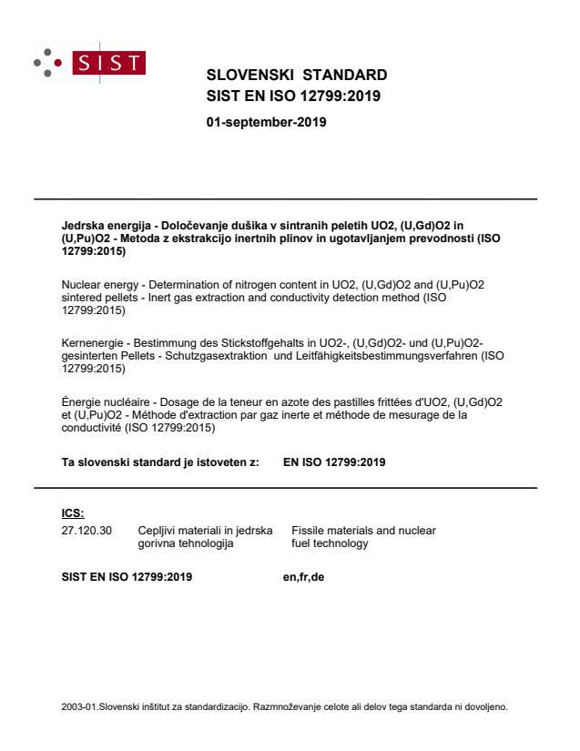 SIST EN ISO 12799:2019