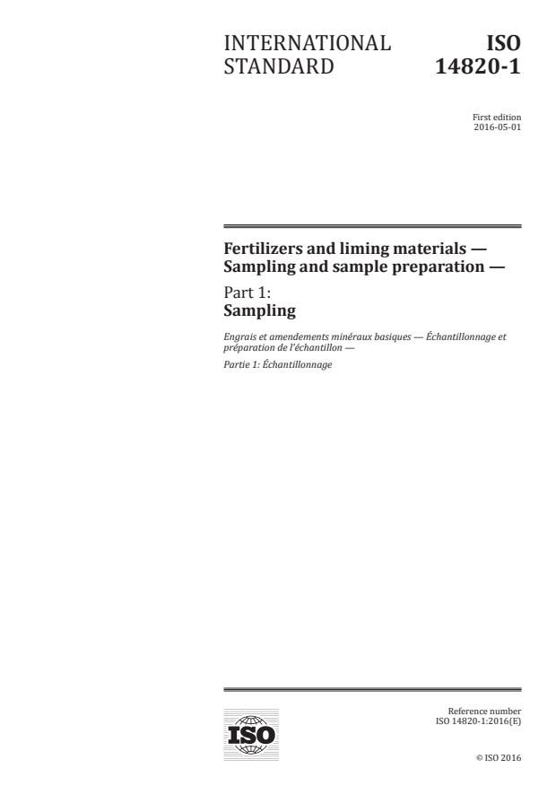 ISO 14820-1:2016 - Fertilizers and liming materials -- Sampling and sample preparation