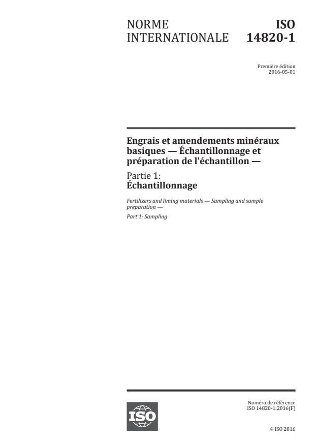 ISO 14820-1:2016 - Engrais et amendements minéraux basiques -- Échantillonnage et préparation de l'échantillon