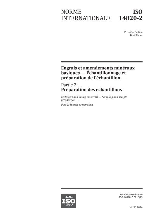 ISO 14820-2:2016 - Engrais et amendements minéraux basiques -- Échantillonnage et préparation de l'échantillon