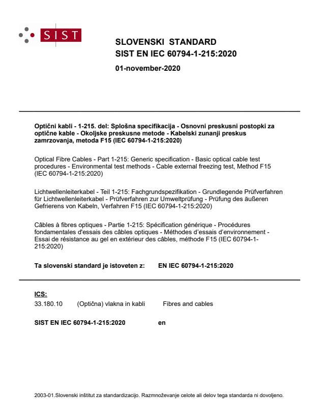 SIST EN IEC 60794-1-215:2020