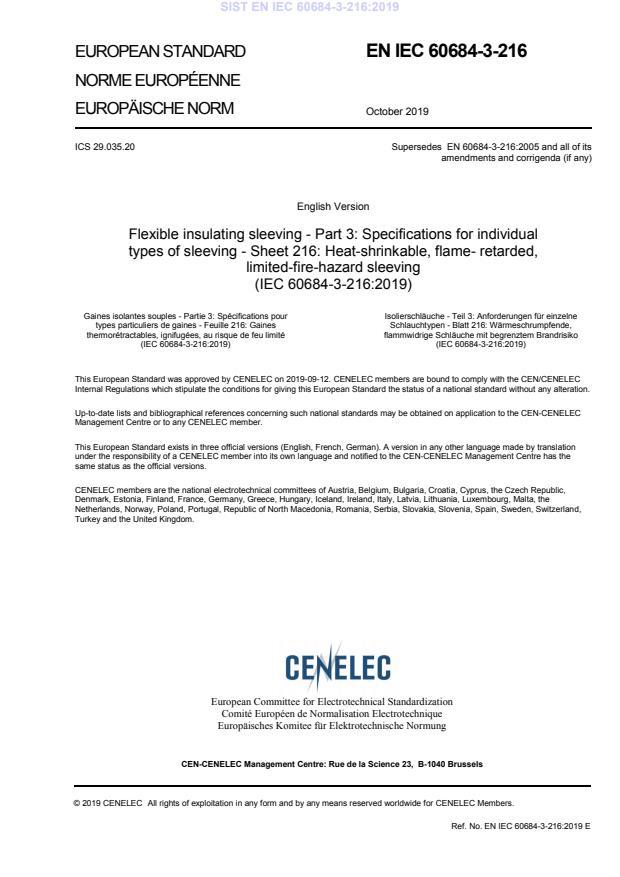 SIST EN IEC 60684-3-216:2019