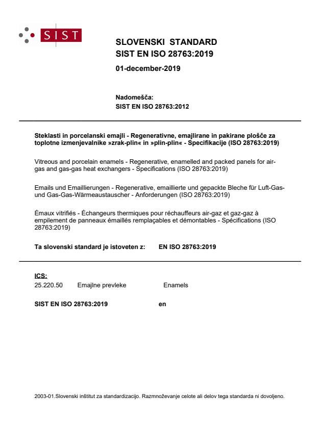 SIST EN ISO 28763:2019