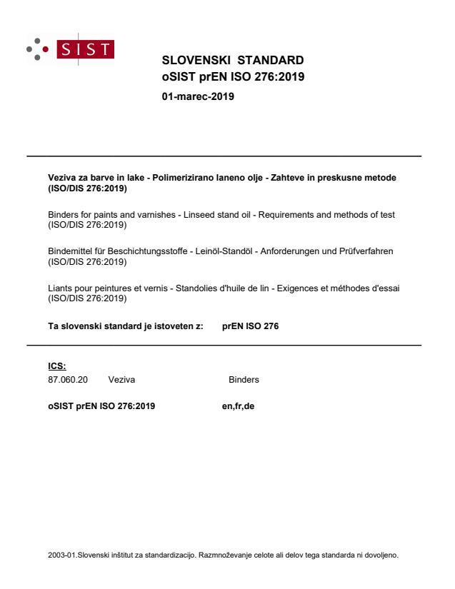 oSIST prEN ISO 276:2019