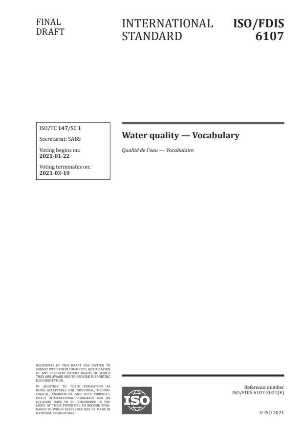 ISO/FDIS 6107:Version 16-jan-2021 - Water quality -- Vocabulary