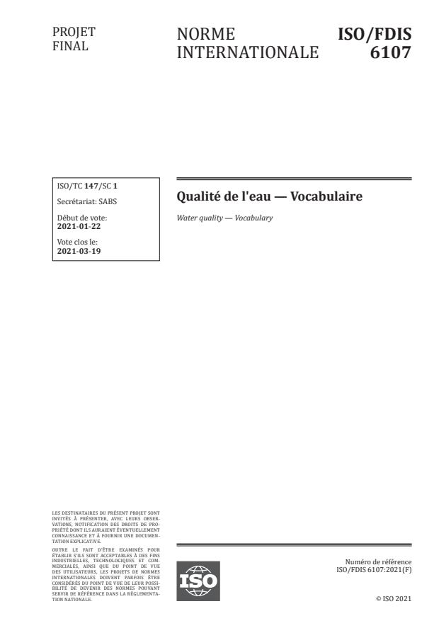 ISO/FDIS 6107:Version 06-mar-2021 - Qualité de l'eau -- Vocabulaire