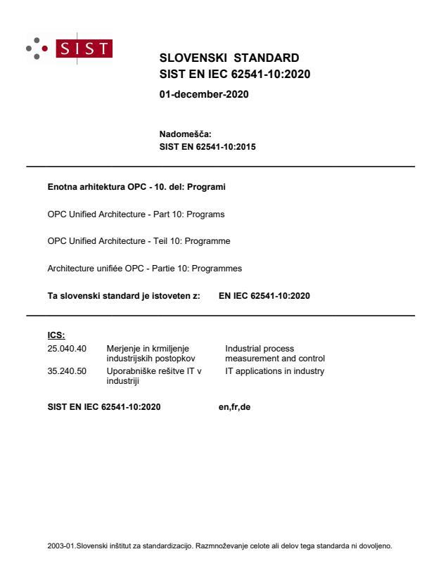 SIST EN IEC 62541-10:2020